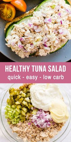 How to make creamy, fluffy and flavorful Healthy Tuna Salad with less mayo that actually tastes good. Healthy tuna salad recipe is great for meal prep. Refrigerate for up to 5 days and use healthy tuna salad for school and work lunches, cold dinner or eas Healthy Tuna Salad, Healthy Salad Recipes, Lunch Recipes, Healthy Mayo, Tuna Lunch Ideas, Recipes Dinner, Healthy Tuna Sandwich, Easy Tuna Recipes, Best Tuna Salad Recipe