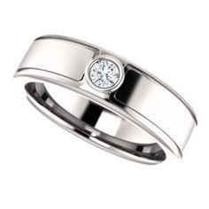 14K White 3mm Round .10 CTW Men's Diamond Ring