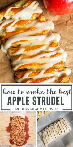 Phylo Pastry Recipes, Apple Recipes With Puff Pastry, Easy Pastry Recipes, Strudel Recipes, Pastries Recipes, Homemade Pastries, Sweet Recipes, Dessert Recipes, Easy Puff Pastry Desserts