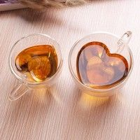 Wish | 180/240ML Home Kitchen Heart Shaped Double Wall Clear Glass Tea Mug Cup Glassware Coffee Mugs Cups With Handle