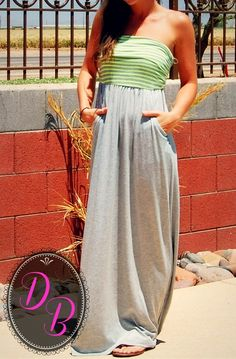 NEON GREEN AND GREY STRIPED MAXI DRESS W/POCKETS... just ordered this can't wait to get it, looks super comfy- HG