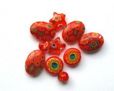 MilleFiore Glass Beads - Italian Mosaic in Orange Glass by merelyaconduit for $2.28