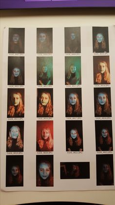 This is an image of my one of my contact sheets, from experiments with using coloured gels with the studio lighting. I chose various colours to try at different positions and intensities.