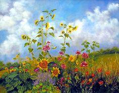 """Sunflowers And Cleome""  Garden Art Print by Marina Petro  $35.00  http://www.etsy.com/shop/ArtByMarinaPetro"