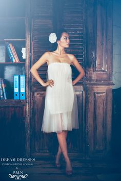 Strapless Mini Lace Dress Custom Order PB093 by DreamDressesByPMN