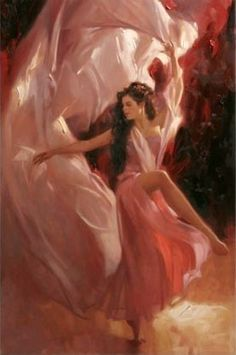 Richard S. Johnson This painting captures how it feels to dance with huge pieces silk keeping it in motion flowing.