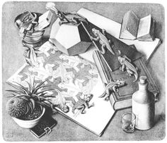 M. C. Escher Another beautiful piece of creativity that once hung by the front door at home. I love the Bible and how everything in this picture, though random at first, all work together to form a solid idea.
