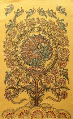 Indian Kalamkari Painting on Canvas 'After Rain II' Original Fine Art Novica Pichwai Paintings, Art Paintings For Sale, Indian Art Paintings, Peacock Painting, Tanjore Painting, Madhubani Painting, Traditional Paintings, Traditional Art, Kalamkari Painting