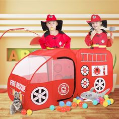 SpringBuds Fire Truck Kids Play Tent, Indoor Outdoor Pop Up Play Tent Pretend Vehicle for Boys Girls