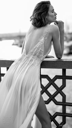 liz martinez 2019 bridal sleeveless deep v neck heavily embellished bodice slit skirt romantic sexy soft a line wedding dress open v back (9) bv -- Liz Martinez 2019 Wedding Dresses | Wedding Inspirasi #wedding #weddings #bridal #weddingdress #bride ~