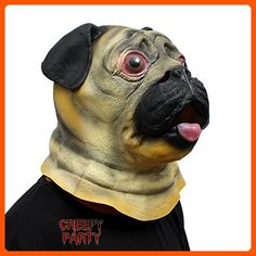 CreepyParty Deluxe Novelty Halloween Costume Party Latex Animal Head Mask Pug Dog - Fun stuff and gift ideas (*Amazon Partner-Link)