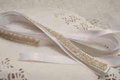 Bridal Belt White Satin Wedding Sash by BridalBlushChampagne