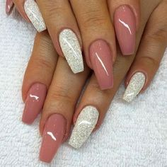 Nude Pink with Silver Glitter on Coffin Nails. Silver glitter is always a great . Alpi , , Nude Pink with Silver Glitter on Coffin Nails. Silver glitter is always a great . Nude Pink with Silver Glitter on Coffin Nails. Silver glitter is a. Best Acrylic Nails, Acrylic Nail Art, Acrylic Nail Designs, Nail Art Designs, Nails Design, Gel Designs, Design Art, Glittery Acrylic Nails, Design Ideas