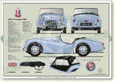 Triumph TR 3 disc wheels 1955-57 classic sports car portrait print