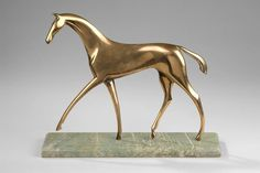 Attributable to Karl Hagenauer: An Austrian Art Deco patinated brass model of a horse