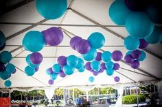 Lilac purple, soft green and grey lanterns.. Perfection!