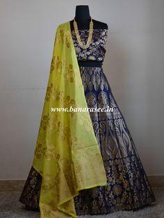 Banarasee/Banarasi Handwoven Semi Silk Unstitched Lehenga & Blouse Fabric With Dupatta-Deep Blue