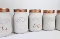 Shaker kitchen Accessories - Grey and Copper Kitchen Set Of 3 Tea, Coffee And Sugar Canisters Rose Gold. Copper And Grey Kitchen, Copper Kitchen Decor, Copper Decor, Kitchen Grey, Rose Gold Kitchen Accessories, Copper Accessories, Room Accessories, Shaker Kitchen, Kitchen Sets