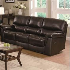Luna Reclining Sofa in Brown Leather Upholstery by Coaster Furniture Design, Coaster Furniture, Deep Seat Cushions, Leather Upholstery, Sofa, Furniture, Sofa Store, Recliner, Leather Sofa
