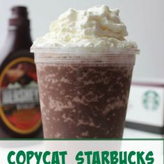 Copycat Starbucks Mocha Frappuccino Recipe Beverages with espresso, sugar, milk, chocolate syrup, xanthan gum, ice, whipped cream, chocolate syrup