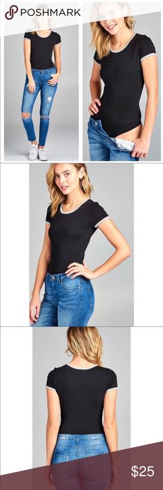 Black and gray contrast bodysuit A cute sporty trendy black bodysuit with gray trim Couture Gypsy Tops Tees - Short Sleeve