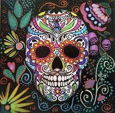 Sugar Skull in acrylic on x Canvas Sugar Skull Painting, Sugar Skull Artwork, Sugar Skull Girl, Sugar Skulls, Caveira Mexicana Tattoo, Sugar Skull Images, Small Art, Art Pages, Collage Art