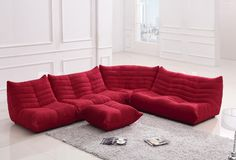 Bloom Red Fabric Sectional Sofa