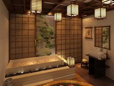 Japanese style bath, lanterns