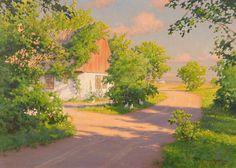 Johan Krouthén (1859-1932): Sommarlandsakp med pickande höns, 1920