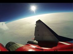 during the MiGFlug Edge of Space flight - photo taken during a test flight for the new MiGFlug company video. Made by Artur Sarkisyan - camera was attached to the fine. Fighter Aircraft, Fighter Jets, Supersonic Speed, Civil Air Patrol, Airline Pilot, Great View, Military Aircraft, Trip Planning, Airplane View