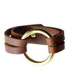 Gold Henri Leather bracelet