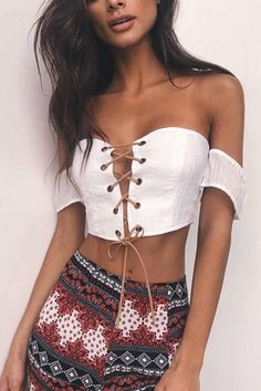0e781c2cab3d1 White Off Shoulder Lace Up Short Sleeve Sexy Crop Top