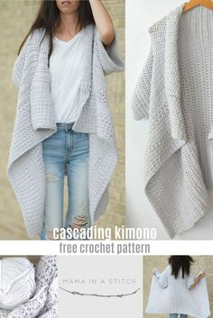 Some of you may have seen that Lion Brand recently created a crochet kit (currently out of stock ETA Dec 1 2017) for this Cascading Kimono Cardigan Crochet Pattern and I'm happy to now share the pattern for free here on the blog as well! I LOVE how this crocheted kimono turned out. It's easy, breezy, flowy (is that a word