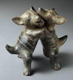 Late Preclassic  Dancing dogs, 200 B.C.E.–C.E. 200. Blackware ceramic  h. 12.6 cm., w. 13.5 cm., d. 7.5 cm. (4 15/16 x 5 5/16 x 2 15/16 in.)  Place made: West Mexico, Colima, Mexico