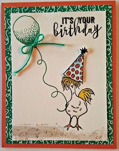 """Lots of fun with Stampin' Up! """"Hey, Chick"""", Balloon Celebration and Better Toget… Lots of fun with Stampin' Up! """"Hey, Chick"""", Balloon Celebration and Better Together Stamp Sets Lots of fun with Stampin' Up! Making Greeting Cards, Greeting Cards Handmade, Stampin Up Karten, Kids Birthday Cards, Funny Birthday, Stamping Up Cards, Bird Cards, Animal Cards, Cool Cards"""