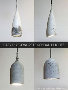 DIY concrete pendant lights made with plastic bottles