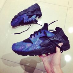 a8b737e8b160 Nike Triple Black Huarache with galaxy effect over side pannels and  toe.More sizes available