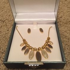 """Enamel earring and necklace set Pretty enamel earring and necklace set. Gold tone metal with pearled enamel in subtle shades of green. Necklace is not 16"""" in length (up to 18"""" with use of attached extender). New in box but without tags. Worthington Jewelry Necklaces"""