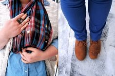 winter blues outfit inspiration - colored denim, light chambray, plaid scarf, cream sweater vest, owl ring