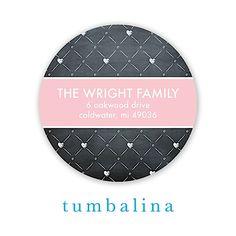 Chalkboard Baby Heart Dots Pink Round Return Address Sticker | Notepourri