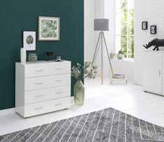 Schubladenschrank, Sideboard mit 4 Schubladen, Schubladenkommode, Anrichte, Kleines Highboard, Glanz, Hell, Modern, Holz, Spanplatte, Flurschrank. #Schlafzimmer #Gästezimmer #Flur #Wohnen #Wohnidee #Zimmergestaltung #Wohneinrichtung #WohnungsGestaltungsidee White Sideboard, High Gloss, Dresser, Modern, Cabinet, Storage, Furniture, Design, Home Decor