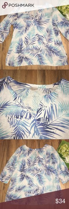 "J. JILL 100% linen tropical ombré palm leaf top Length: 30"" | Bust: 24"" | Sleeves: 20"" J. Jill Tops Blouses"