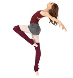 Body Wrappers Burgundy/Black Leg warmers- 27""