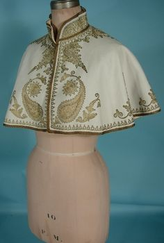 c. 1895 Museum Deaccessioned Ottoman Gold Metallic Thread Couched Embroidery on Ivory Wool Capelet | Antique Dress - Item for Sale