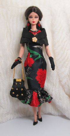 Handmade Red Black Silk Outfit Dress Bag Glove Jewelry For Barbie Silkstone Doll All Fashion, Fashion Dolls, Retro Fashion, Black Silk, Red Black, Barbie Clothes, Barbie Dolls, Frack, Black Barbie
