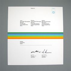 1972 Munich Olympics Certificates designed by Otl Aicher and his team. Design classics and collectable items. Otl Aicher, Certificate Design, Event Branding, Typography, Lettering, Graphic Design Inspiration, Munich, Graphic Prints, Layout Design