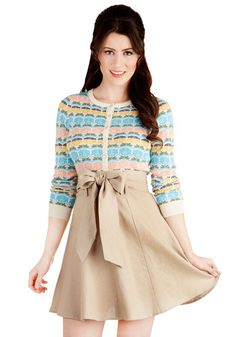 Musee Matisse Skirt in Tan - Mid-length, Tan, Solid, Belted, Work, Daytime Party, A-line, Variation, Basic, Brown, Best Seller, Gals, 50s, Americana, High Waist, Spring, Summer, Fall, Good, Top Rated, 4th of July Sale