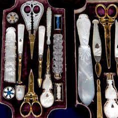 1840 French silver & mother of pearl travel set: dressing & grooming accessories, thimble, porcelain teacup & saucer, etc. Vintage Sewing Notions, Antique Sewing Machines, Vintage Sewing Patterns, Sewing Box, Sewing Tools, Sewing Crafts, Sewing Kits, Sewing Case, Vanity Set