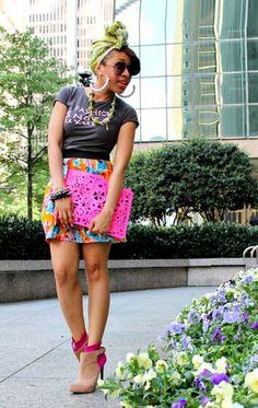 Color!      SHIRT: Bitten by SJP |SKIRT: ZARA |SHOES: RACHEL Rachel Roy 'Celio' booties |NECKLACE: Nakate project |BAG: ASOS |EARRINGS & BRACELETS: Mattieologie x Miss B Fab |HEAD SCARF: leftover African fabric (image:mattieologie)    Black Girls Killing ItShop BGKI NOW