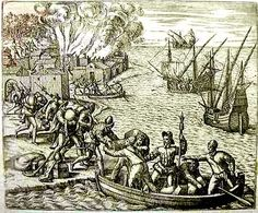Havana Cuba French pirate Jacques de Sores looting and burning Havana in 1555 Native American Art, American History, Drake, Strait Of Malacca, Golden Age Of Piracy, Francis I, Hotels, French History, Boats